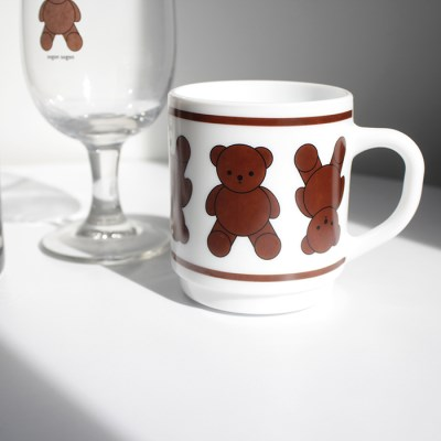 Teddy bear milk glass