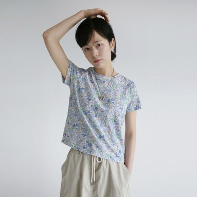 vintage mood flower slim tee (2colors)_(1236945)