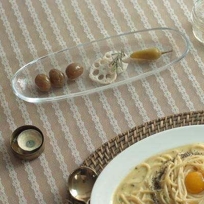 리카 타원 유리 롱플레이트_가로 30cm 초밥접시 브런치그릇 카페접시