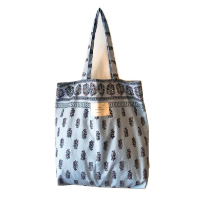 패턴에코백(L)-스카이블루