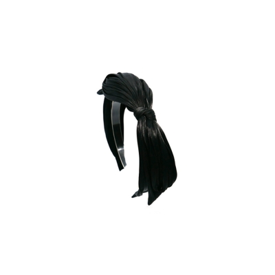 pleats ribbon hairband (black)