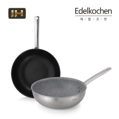 [에델코첸] IH 통삼중 베이직 스테인리스 코팅 웍팬 26cm (택1)