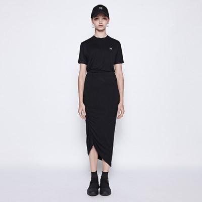 [디바이디그낙] Unballance Diagonal Line Skirt BK