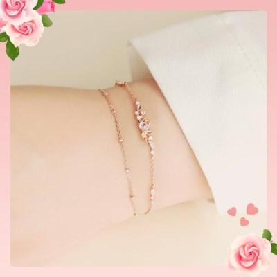 화사한 핑크 튤립 이중체인 로즈골드 팔찌 OTB119507QPP