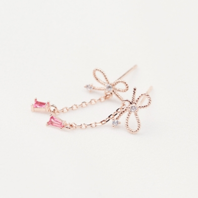 리본 핑크 체인드롭 귀걸이