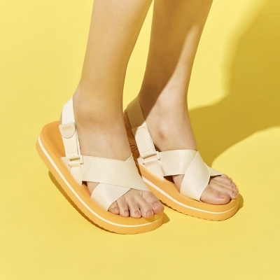 SKONO WOMEN VELCRO SANDAL WB19SCD0009 (IVORY,ORANGE)_(1024771)