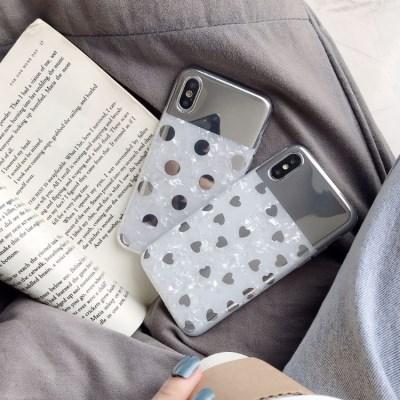 하트 땡땡이 자개 셀카 미러 아이폰 케이스