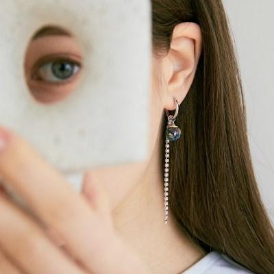 투명한 스노우볼 속 움직이는 플라워 귀걸이