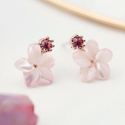 핑크 자개 큐빅 귀걸이