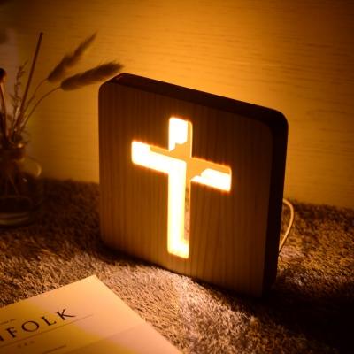 십자가 원목 LED무드등 침대간접조명 국민수유등 집들이선물