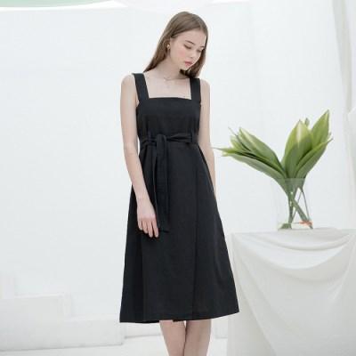 [클렛]LINEN SLEEVELESS DRESS BLACK