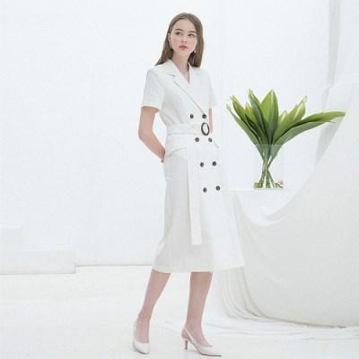 [클렛] LINEN LONG JACKET DRESS WHITE