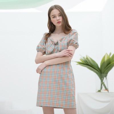 [클렛] CHECK RIBBON DRESS YELLOW
