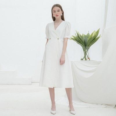 [클렛] LINEN WARP BUTTON DRESS WHITE