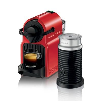 [네스프레소] 이니시아 C40+에어로치노 캡슐 커피머신 RD+BK