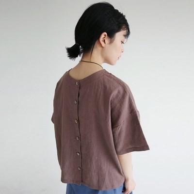 light texture linen half blouse (2colors)_(1262966)