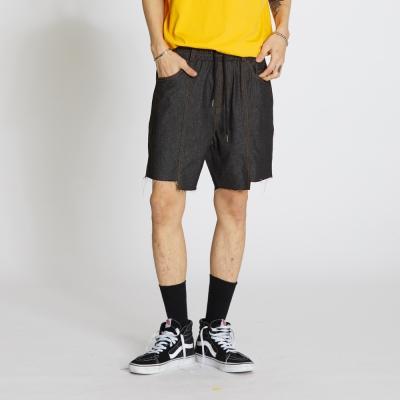 Denim Banding Cut Shorts - Dark Blue