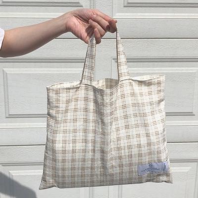 natural linen check square bag ( hand made )