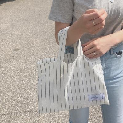 natural linen stripe square bag ( hand made )