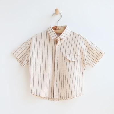 [온라인 전용] 세로 스트라잎 아동 반팔 셔츠 IB2ES624U
