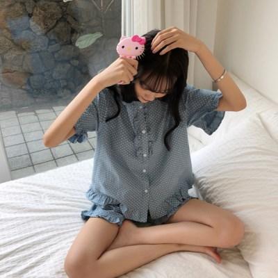[안녕잘자] 당일발송 도트 여름반팔 잠옷세트