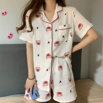 [안녕잘자] 당일발송 미니피그 여름반팔 잠옷세트