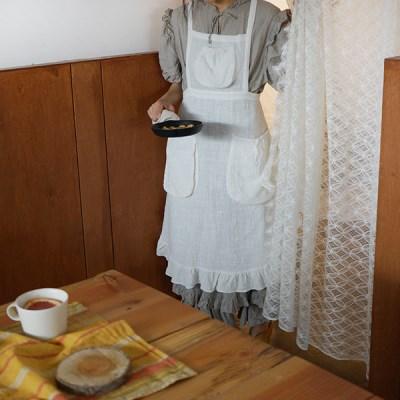 페더 린넨 에이프런 : Feather linen apron