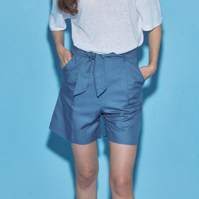 HIGH WAIST LINEN SHORT PANTS_BLUE