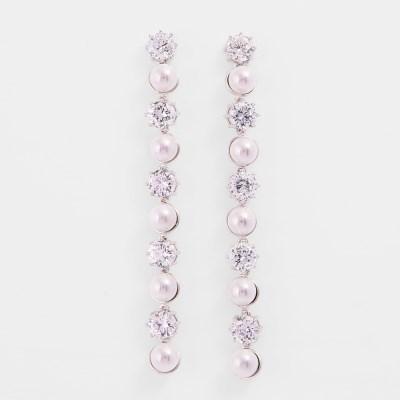 [쥬디앤폴] 리나 세련된 진주 크리스탈 라운드 드롭 귀걸이 E50482