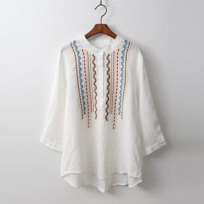 Linen Ethnic Button Blouse