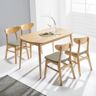 [데코마인] 시드 4인식탁세트 쿠션체어형(테이블+쿠션체어4)/원목식