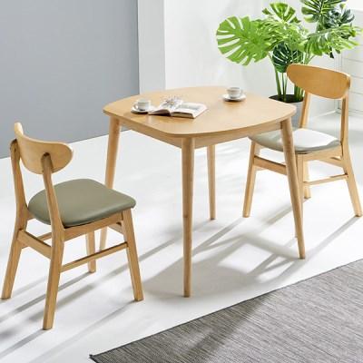 [데코마인] 시드 2인식탁세트 쿠션체어형(테이블+쿠션체어2)/원목식