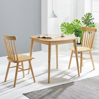 [데코마인] 시드 2인식탁세트 윈저체어형(테이블+쿠션체어2)/원목식