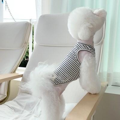 [T.아톰스트라이프민소매]Atom stripe sleeveless T_Navy