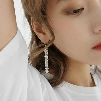 Tiny leaves drop earring