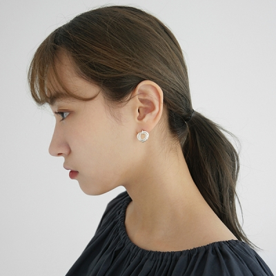 Silver circle combine earring (silver 925)