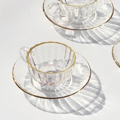 fleur 골드림 글라스 커피잔+받침 세트 (1010)