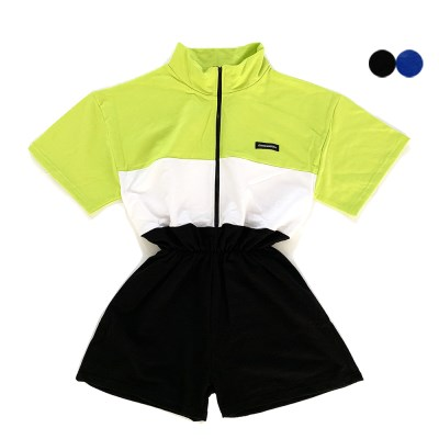COLOR BLOCK SHORT JUMPSUIT(2color)