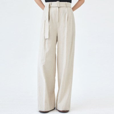 momo belted linen banding pants_(1272255)