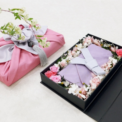 프리저브드 플라워 현금 예단함 핑크