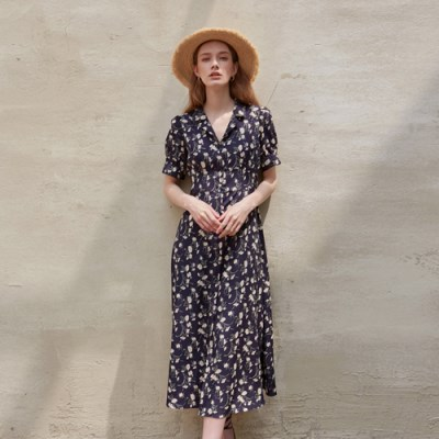 BLOOMING LONG DRESS_NAVY