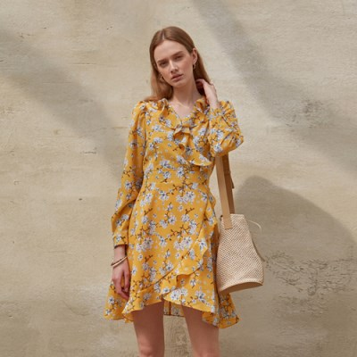 FLOUNCE WRAP DRESS_YELLOW