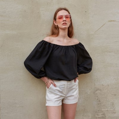 LINEN OFF-SHOULDER BLOUSE_BLACK