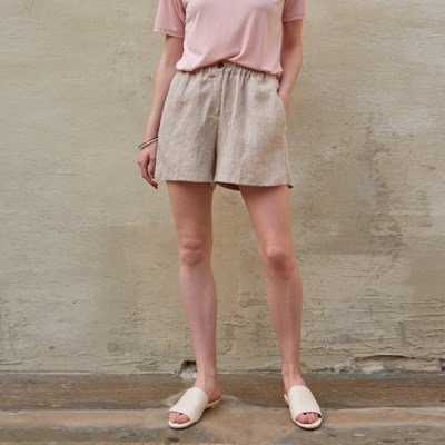 COZY LINEN SHORT PANTS_DARK BEIGE
