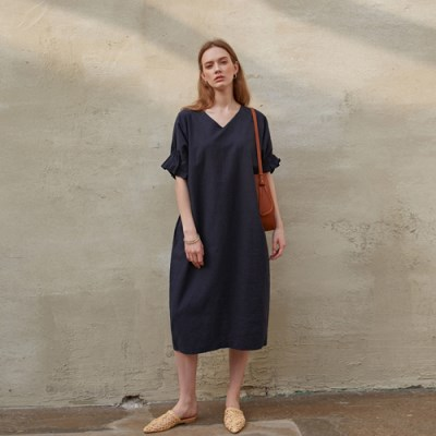 NATURAL LINEN DRESS_NAVY