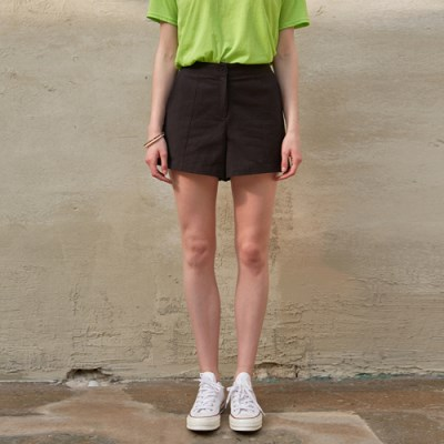 SIMPLE LINEN SHORT PANTS_BLACK