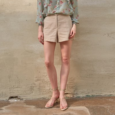 SIMPLE LINEN SHORT PANTS_BEIGE