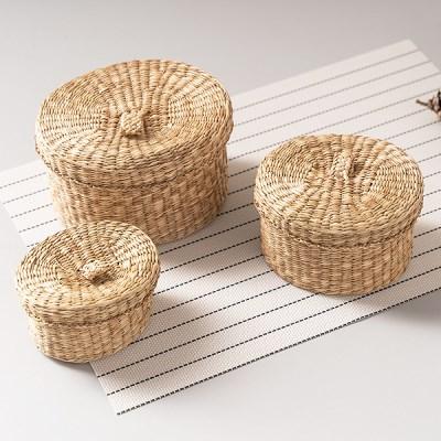 라탄 바구니 왕골 해초 원형 바스켓 수납함 (3P_Set)_(1018021)