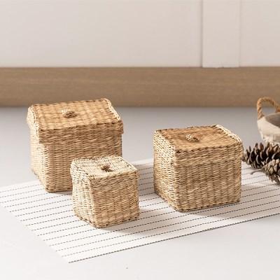 라탄 바구니 왕골 해초 사각 바스켓 수납함 (3P_Set)_(1018020)