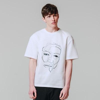 얼굴 나염 반팔 티셔츠 화이트_(3606008)